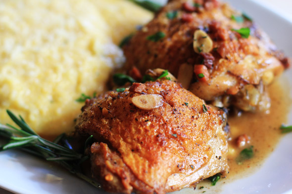 Chicken Canzanese with Creamy Garlic & White Cheddar Polenta