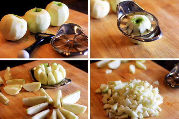 Peel and core your apples. Then chop into even bite-sized chunks.