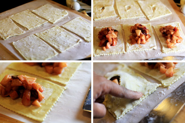 Cut a small vent hole into 3 of the first 6 puff pastry squares, and scoop some of the apple mixture into the centers of the remaining 3 puffy pastry squares -- you will repeat this step w/ the other 6 squares of the second sheet.