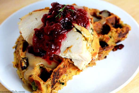 Thanksgiving Leftover Idea: Turkey with Cornbread-Stuffing Waffles
