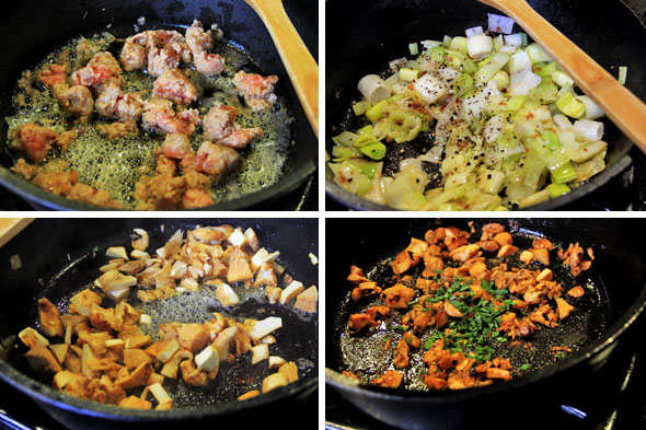 Cook the sausage and crushed red pepper in chunks, then break those chunks down a little more as they cook. Don't overcook the sausage, it will continue to cook in the oven. Just cook until there is no pink and minimal caramelization. Remove with slotted spoon, then add the leeks and seasoning.  Cook down for about 4 to 5 minutes, just until they're soft. Remove with slotted spoon, then add the mushrooms. Let the cook for about 4 to 5 minutes.