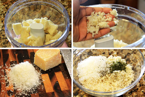 Put the bread into a food processor, and pulse 5-10 times until you get good sized crumbs. Size of crumbs totally depends on your preference. Finely grate about 2-3 tbsp of parmesan cheese. Add the cheese, dried herbs, and seasoning to the crumbs. Toss with your fingers.
