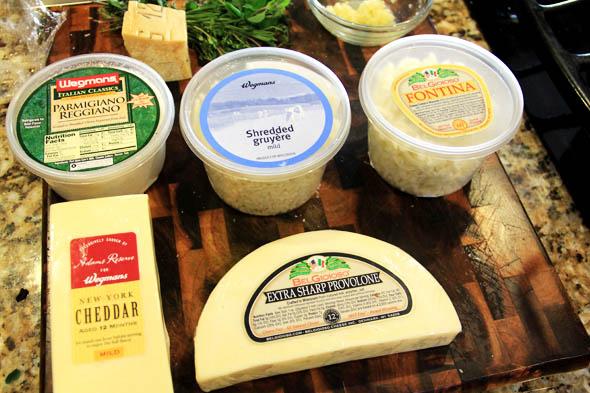 Parmesan, Gruyere, Fontina, Mild cheddar, Extra Sharp Provolone.
