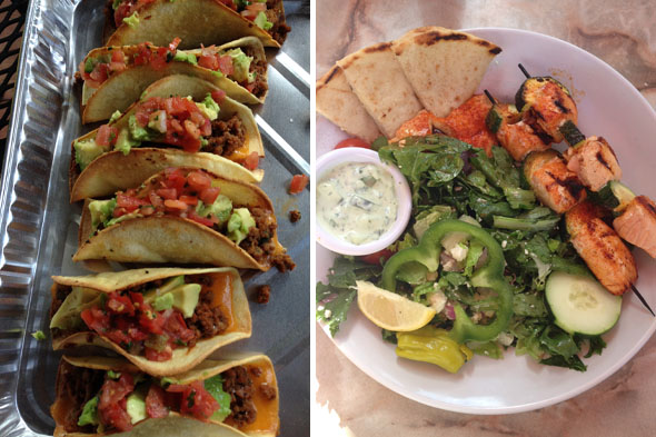 I have always loved tacos, so instead of frying the shell I baked it. I used ground turkey instead of beef and used greek yogurt instead of sour cream. One of my favorite places to get food after a workout was Zoe's Kitchen. Amazing food!