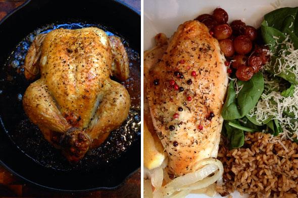 Asé tan mucho pollo! Me lo comí todo el tiempo y todavía no estoy harto. Uvas asadas, verduras frescas, arroz integral. Mis deliciosas comidas para llevar.