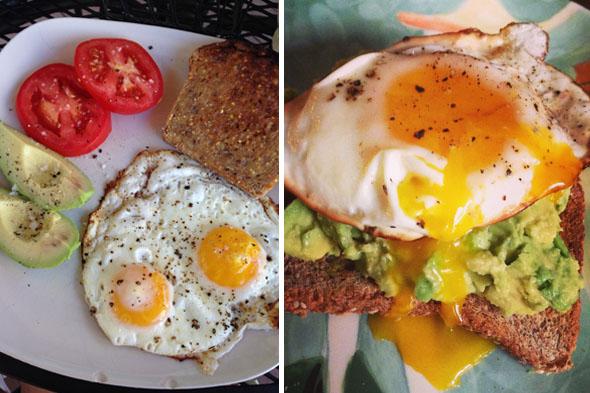 Un desayuno típico para mí. Me enamoré del pan, el aguacate y los huevos de Ezequiel. Comí mis yemas y blancos, y todavía perdí peso.