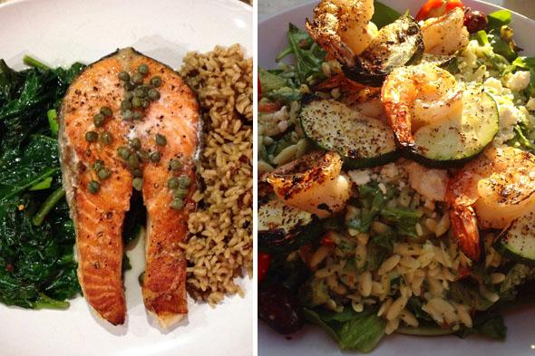 Delicioso salmón, espinacas y arroz integral / mezcla de quinua. Otra ensalada de la cocina de Zoe.