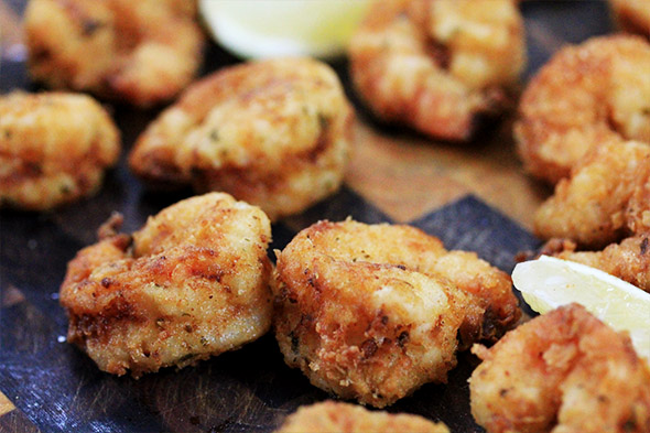 Lemony Buttermilk Fried Shrimp