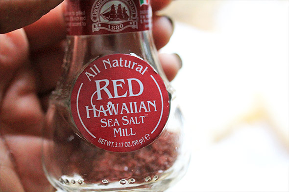 i'm using this red hawaiian sea salt on my cod, but you can use any salt you have on hand. i seasoned the fish with this, and lemon pepper.