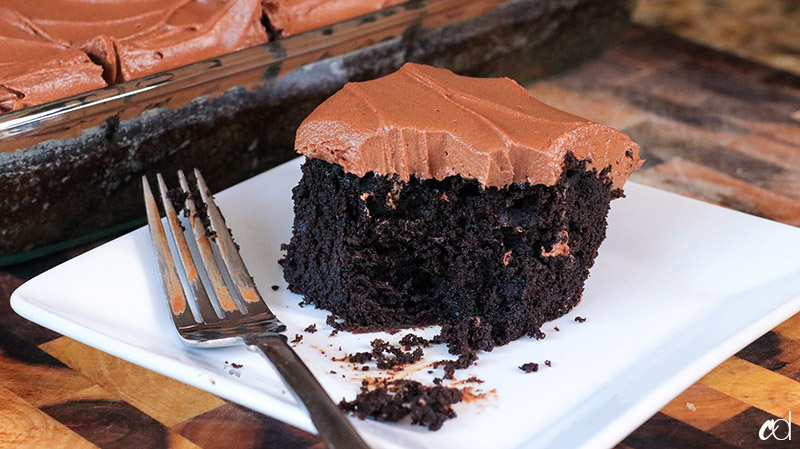 Chocolate Sheet Cake with Milk Chocolate Ganache Frosting