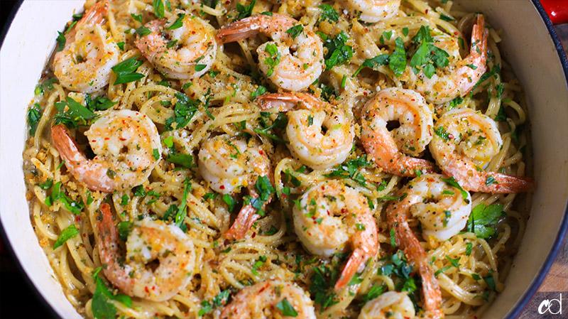 Aglio Cacio e Pepe with Shrimp