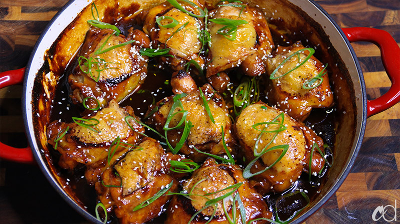 Garlic Ginger and Soy Braised Chicken Thighs