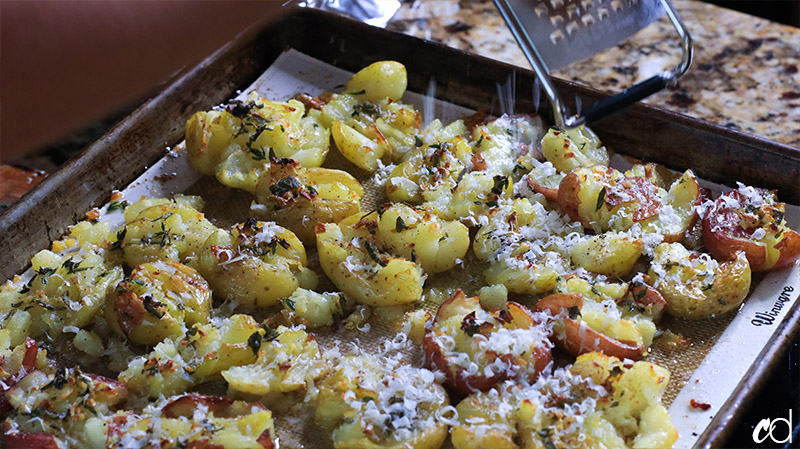 Crispy Smashed Garlic and Herb Duck Fat Potatoes