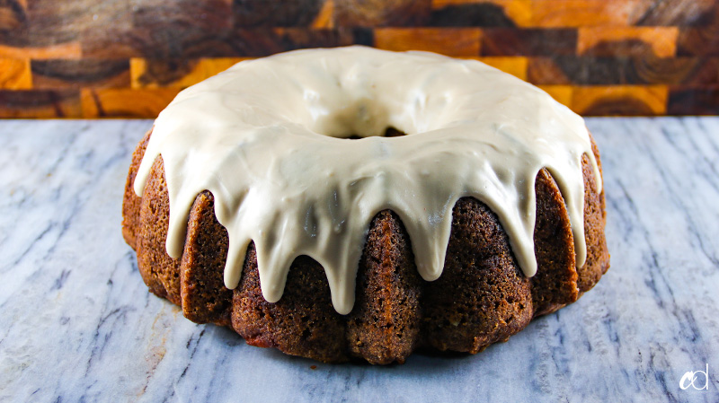 Spiced Apple Walnut Bundt Cake with Maple Cream Cheese Frosting