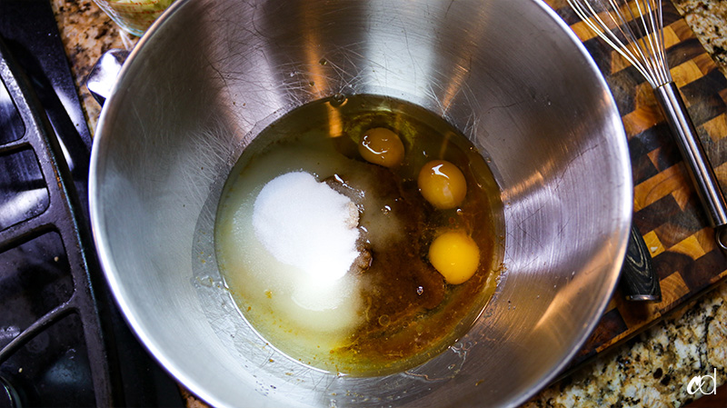 vanilla, eggs, oil, and sugars