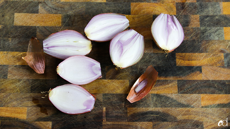 shallots chopped in half
