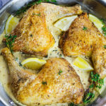 Herbs de Provence Chicken Leg Quarters with Lemony White Wine Cream Sauce