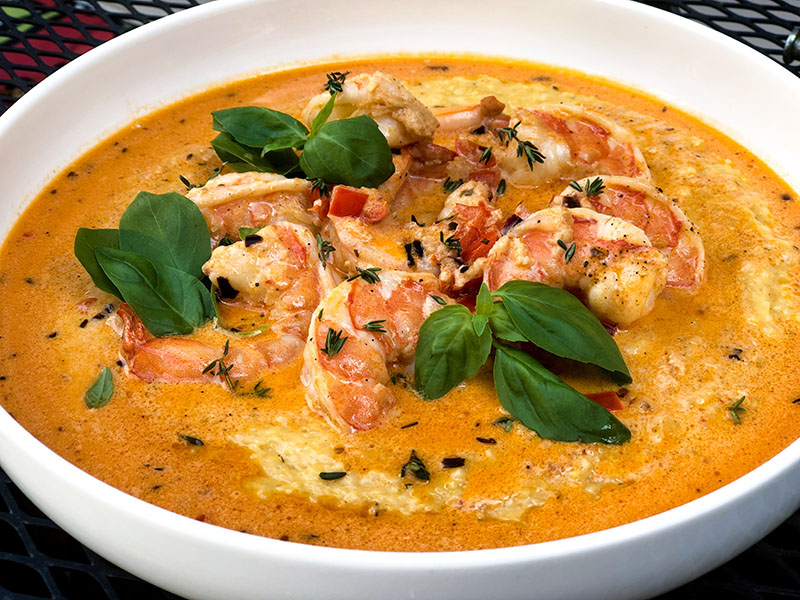 Creamy Garlic and Tomato Shrimp and Fontina Grits