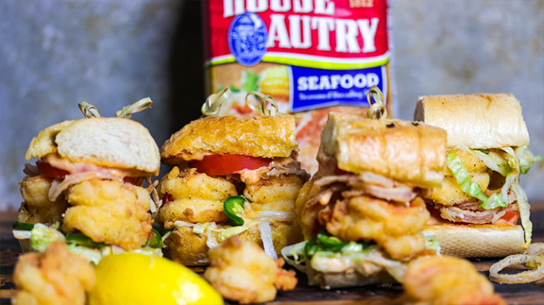 Mini Shrimp Po'boys with Pickled Iceberg Slaw