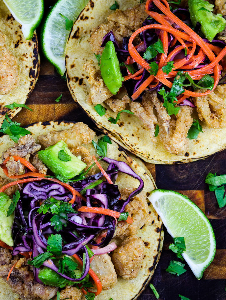 Calamari Tacos with Sweet Chili Slaw