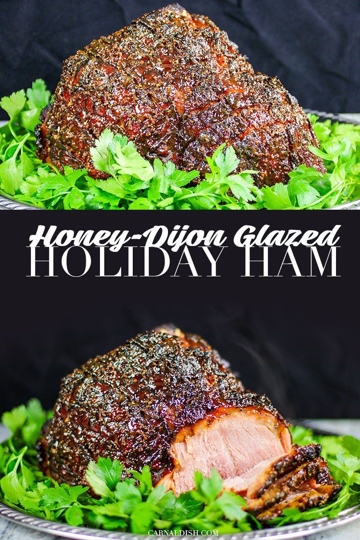 A beautiful tender and juicy honey-dijon glazed ham, perfect as the centerpiece for your holiday dinner. Sponsored by Frick\'s Meats. | #itsfrickingood #fricksmeats #fricks #holidayham #honeydijonglazedham #buttportionham #thebestholidayham #carnaldish #ham