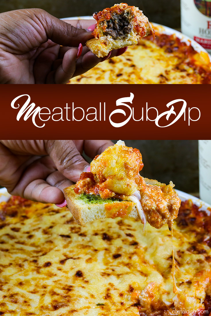 Cheesy, gooey, CRAZY DELICIOUS meatball sub dip, perfect for your next party or game-day gathering. This stuff is SO DAMN GOOD! You just have to try it to find out. | CarnalDish #carnaldish #meatballsubdip #meatballdip #meatballs #appetizers #gameday #cheesyappetizers