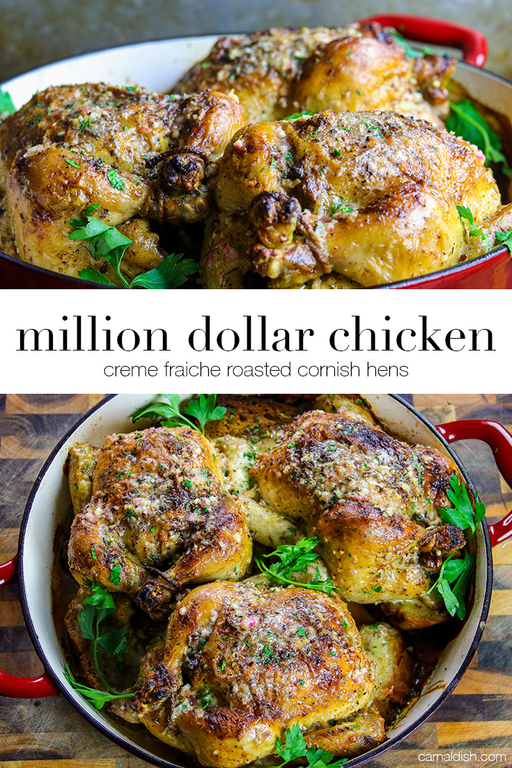 A succulent roasted chicken slathered in luxurious creme fraiche. It looks and tastes like a million bucks! You\'ve gotta make this immediately | CarnalDish #carnaldish #milliondollarchicken #roastedchicken #roastedcornishhens #cornishhens
