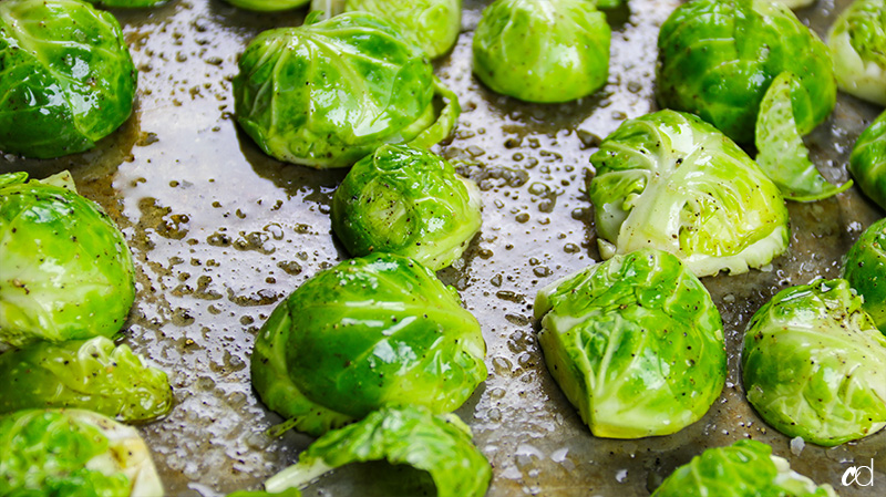 brussels face down on baking sheet