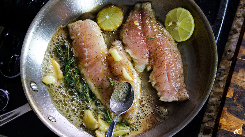 basting fish with butter