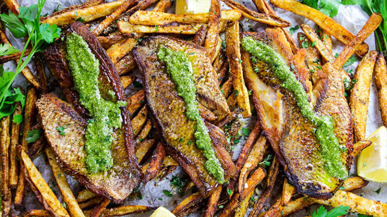 Pesto Red Snapper with Baked Parmesan Fries