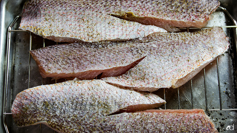 seasoned red skin snapper