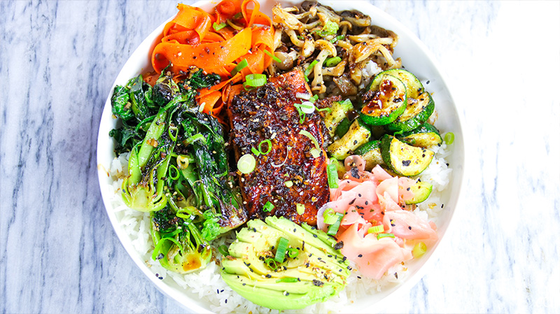 garlic and ginger soy glazed salmon bowl