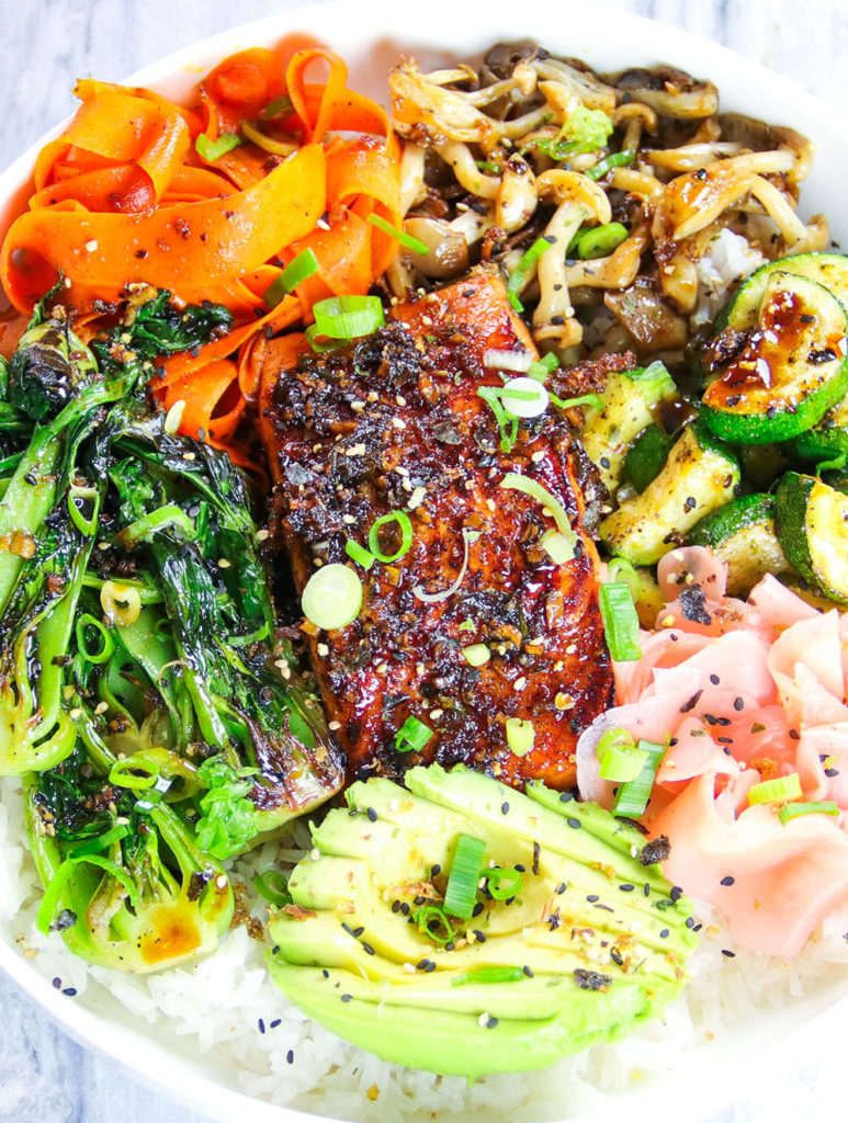 Garlic & Ginger Soy Glazed Salmon Bowl