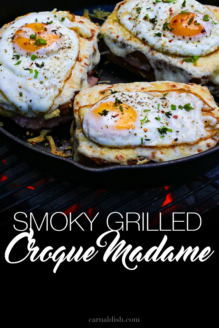 We take the classic croque madame sandwich and grill it over smoky coals for even more flavor. Applewood Smoked Ham is the star of this incredibly decadent sandwich. | CarnalDish #carnaldish #croquemadame #smokedcroquemadame #grilledcroquemadame #sandwiches #smokedsandwiches #applewood #grilling