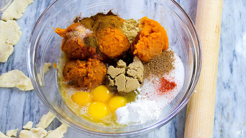 Bourbon Sweet Potato Pumpkin Pie filling ingredients