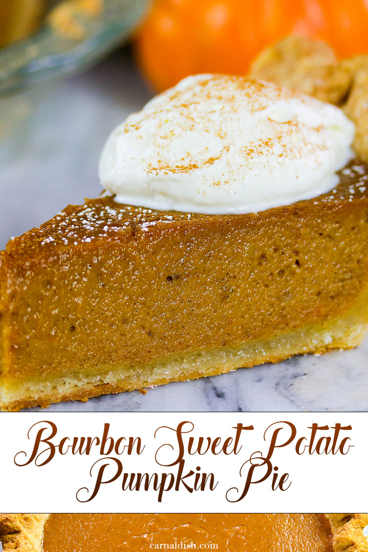 The best of both pie worlds. Sweet potato meets Pumpkin at a bar, and the two share a shot of bourbon for this incredibly delicious holiday pie, sure to be a staple. Made with an all butter buttermilk crust, and speckled with juicy vanilla beans. So good. | #bestpies #dessert #pies #pumpkinpie #sweetpotatopie #sweetpotatopumpkinpie #bourbonsweetpotatopie #carnaldish #thanksgivingdesserts #thanksgivingsweets #falldesserts #pumpkinseason #pumpkinspice
