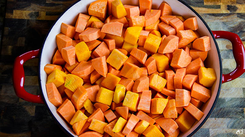 sweet potatoes and butternut squash