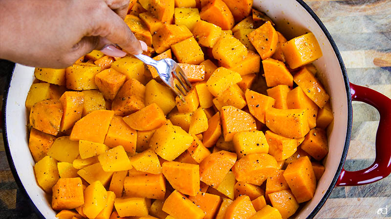 fork tender sweet potatoes and butternut squash