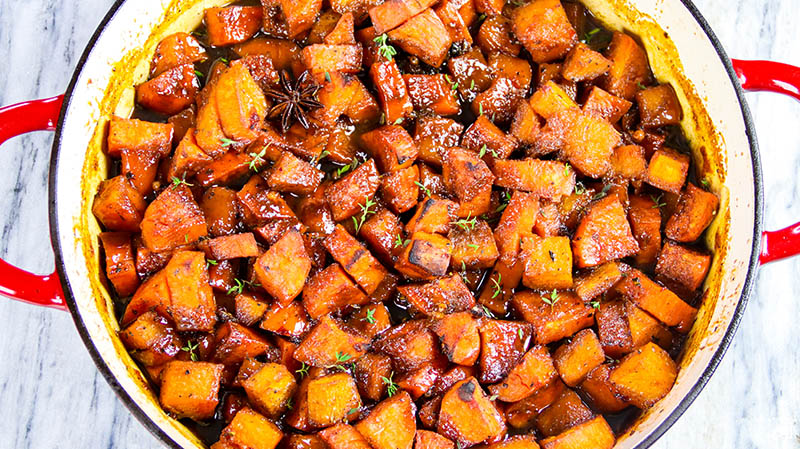 Roasted Sweet Potatoes with Savory Cider Caramel