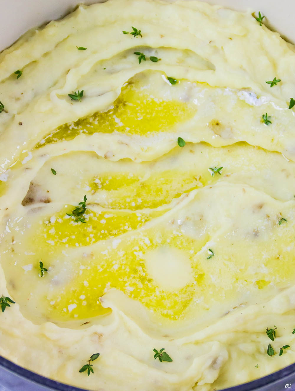 Garlic and Leek Creme Fraiche Mashed Potatoes