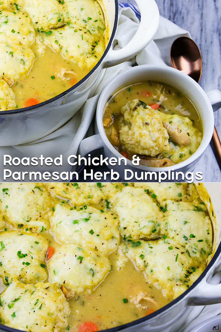 The most intensely flavored chicken and dumplings recipe ever. Richly enhanced with simple shortcuts to maximize flavor and reduce time. Fluffy cheesy herb dumplings float on top of this perfect soup. You will fall in love with this hug in a bowl. | #carnaldish #chickenanddumplings #dumplings #roastedchicken #roastedchickenanddumplings #fallsoups #stews #southernclassics #sundaydinner #comfortfood