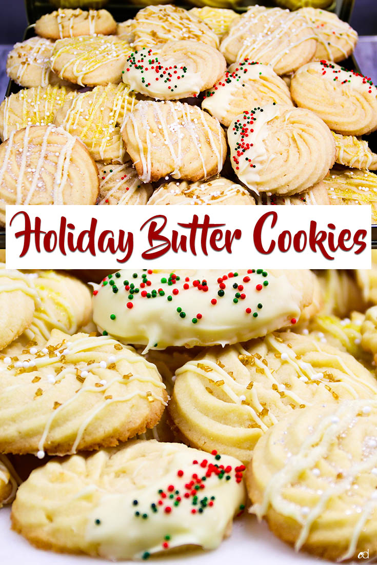 Buttery, soft and crumbly, yet crisp -- utterly delicious holiday christmas butter cookies. You're going to fall in love with how easy they are to make, fun they are to decorate, and be prepare to make them a lot. They will not last! | #carnaldish #buttercookies #holidaycookies #christmascookies #holidaybuttercookies #danishbuttercookies #cookies #desserts #sweets