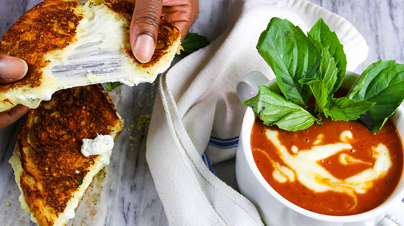 Roasted Garlic Tomato Basil Soup with Ricotta Grilled Cheese