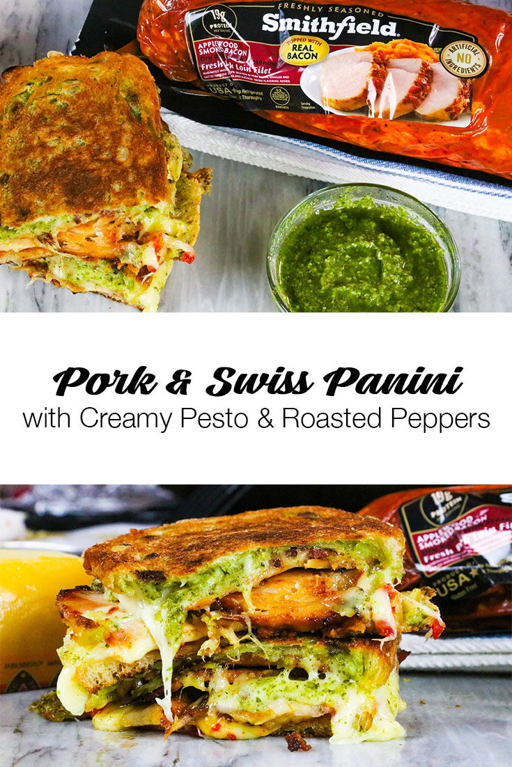 AD Pork and Swiss Panini with Creamy Pesto and Roasted Peppers featuring Smithfield Marinated Fresh Pork | Try this incredibly gooey, smoky pork loin panini with bits of caramelized bacon, melty Jarlsberg swiss, creamy basil pesto, and sweet and spicy roasted red pepper jam. #VirginiaPork