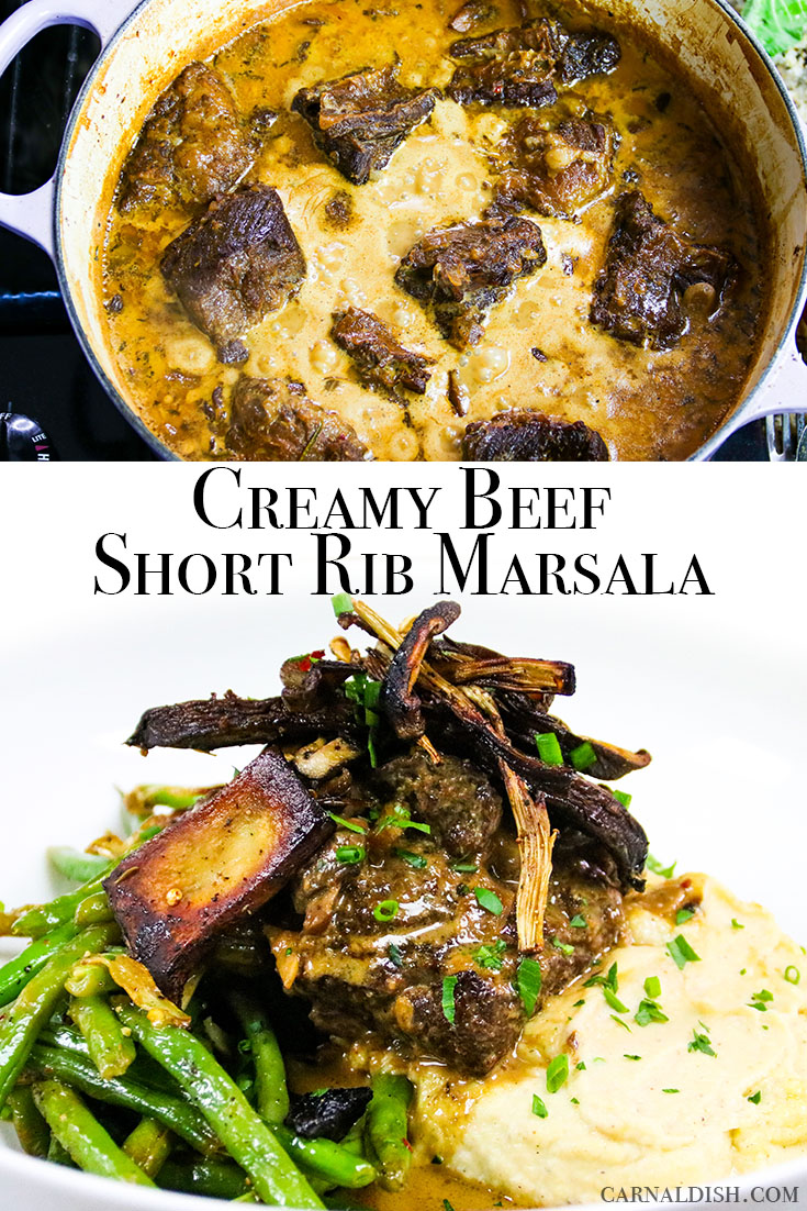 Succulent beef short ribs falling apart in a creamy, decadent marsala wine sauce. Loaded with tons of meaty mushrooms and aromatics, this is an insanely rich and comforting Keto-friendly meal. #carnaldish #ketoshortribs #ketofriendly #ketodiet #ketogenic #marsalashortribs #shortribmarsala #braising #beefshortribs #shortribs #marsala #mushrooms #shortribketo