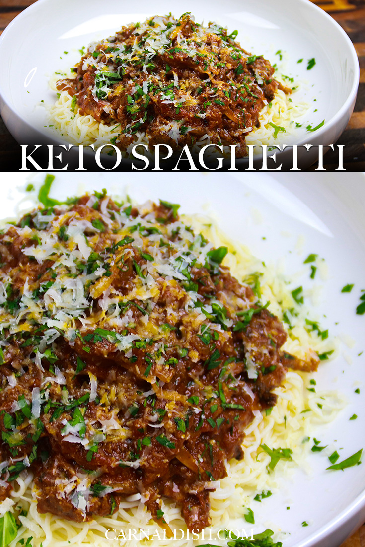 The very best keto spaghetti recipe! Totally low carb and healthy. Bright basil pesto and meaty hen of the woods mushrooms infused in this beefy tomato based meat sauce. #keto #ketospaghetti #ketorecipes #lowcarbspaghetti #shiratakinoodles #shiratakispaghetti #spaghetti #homemadespaghettisauce #spaghettisauce #italianrecipes #carnaldish
