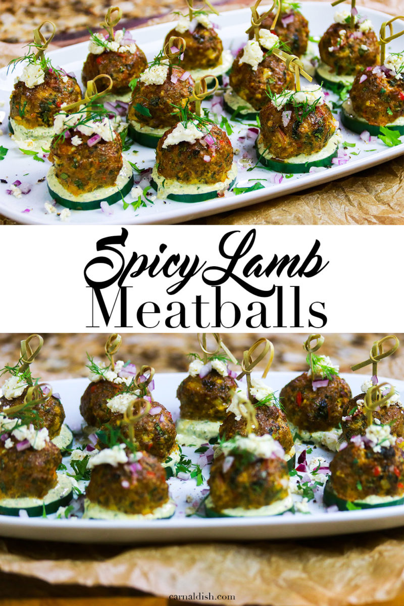 Spicy Lamb Meatball Appetizers with Lemon-Herb Yogurt Sauce. Intensely flavored keto lamb meatballs that are low-carb but not low on flavor. #carnaldish #lambmeatballs #ketolambmeatballs #ketomeatballs #ketoappetizers #lowcarbappetizers #spicylambmeatballs #lambrecipes