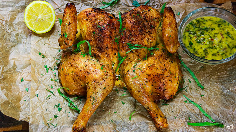 Weeknight Roast Chicken with Garlic and Herb Butter Sauce