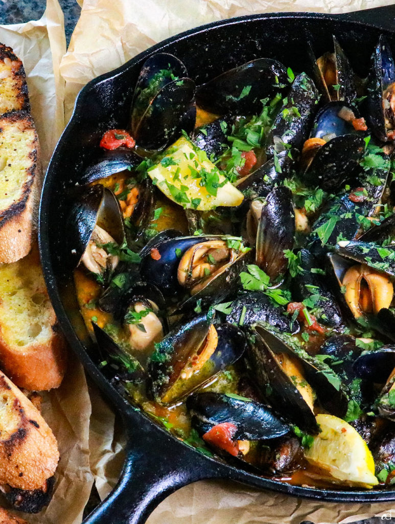 Grilled Beer-Braised Mussels
