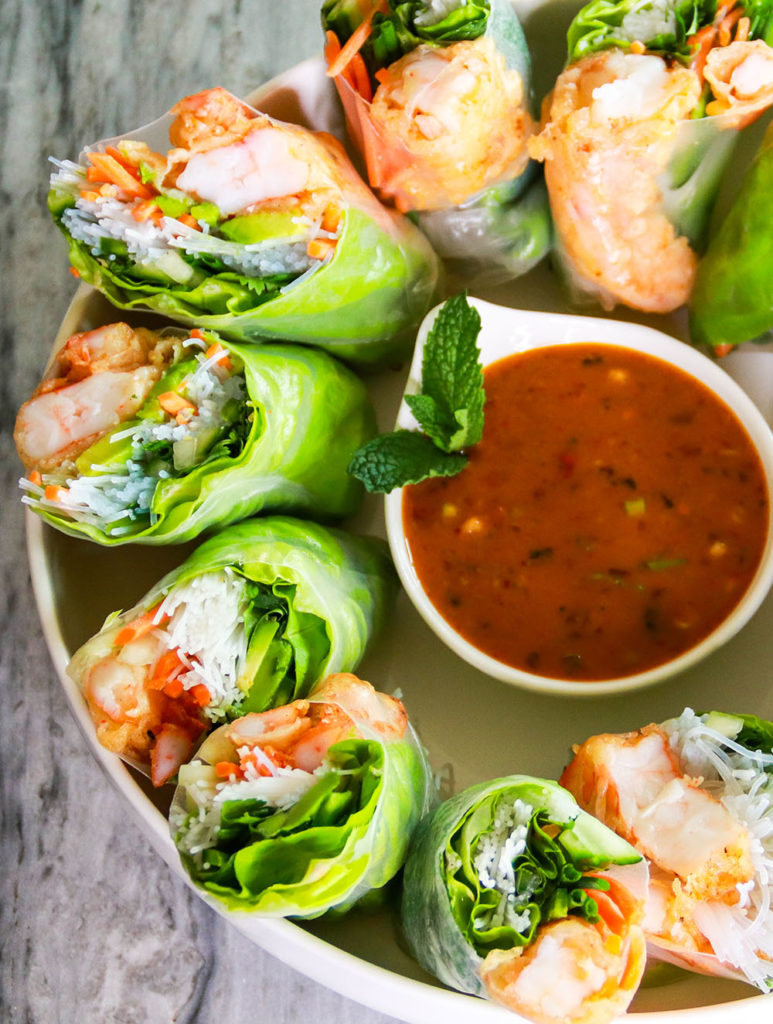 Shrimp Tempura Summer Rolls with Garlic and Ginger Tahini Sauce